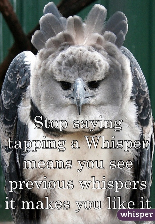 Stop saying tapping a Whisper means you see previous whispers it makes you like it