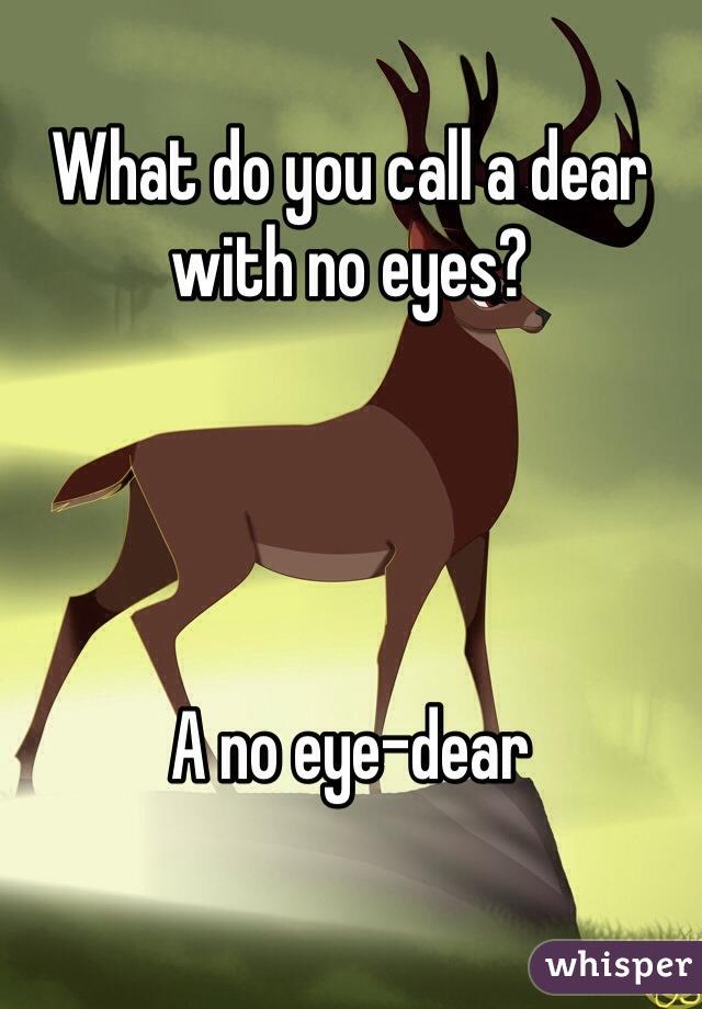 What do you call a dear with no eyes?     A no eye-dear