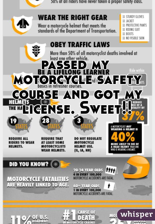 passed my motorcycle safety course and got my license. Sweet!!