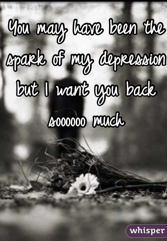 You may have been the spark of my depression but I want you back soooooo much