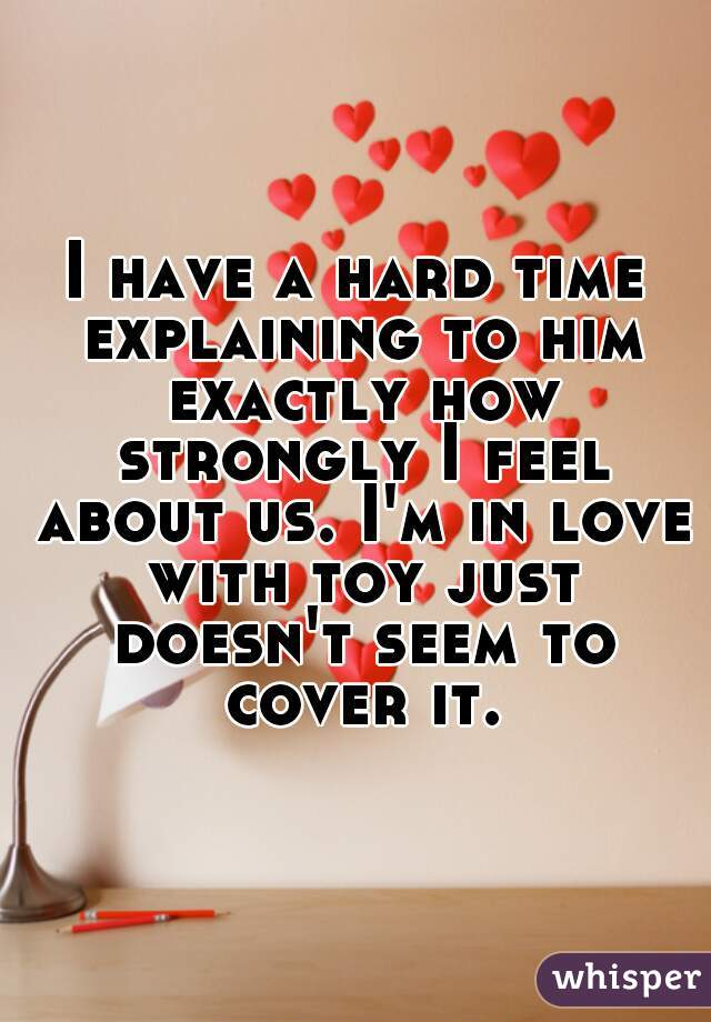 I have a hard time explaining to him exactly how strongly I feel about us. I'm in love with toy just doesn't seem to cover it.