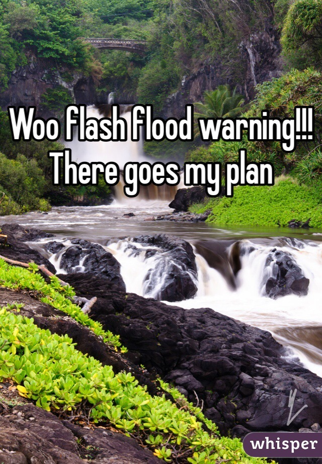 Woo flash flood warning!!! There goes my plan