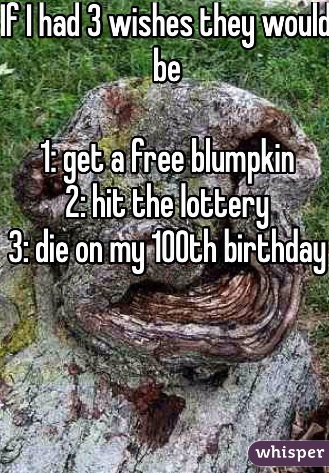 If I had 3 wishes they would be   1: get a free blumpkin  2: hit the lottery 3: die on my 100th birthday
