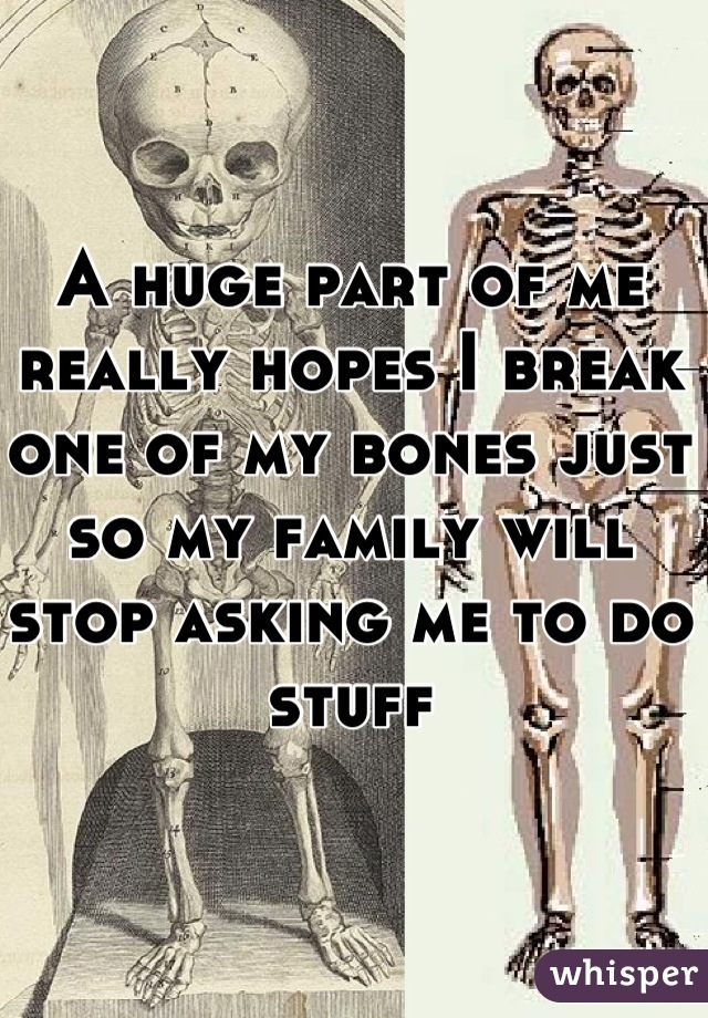 A huge part of me really hopes I break one of my bones just so my family will stop asking me to do stuff