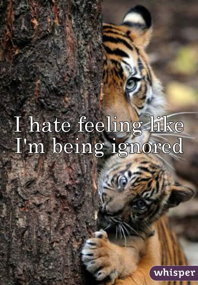 I hate feeling like I'm being ignored