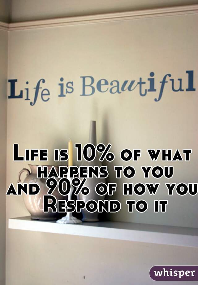 Life is 10% of what happens to you and 90% of how you Respond to it