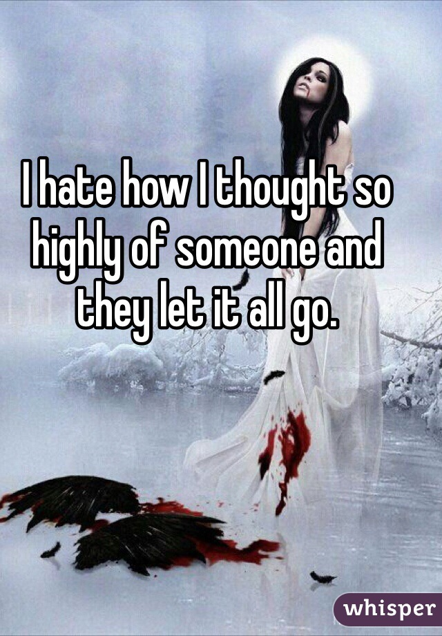 I hate how I thought so highly of someone and they let it all go.