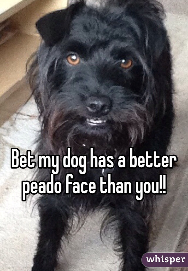 Bet my dog has a better peado face than you!!