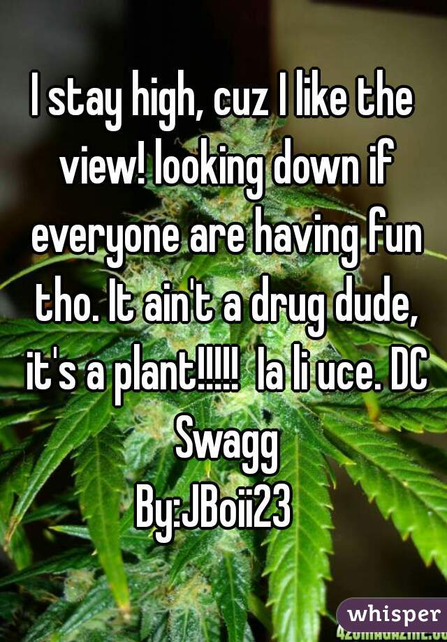 I stay high, cuz I like the view! looking down if everyone are having fun tho. It ain't a drug dude, it's a plant!!!!!  Ia li uce. DC Swagg   By:JBoii23