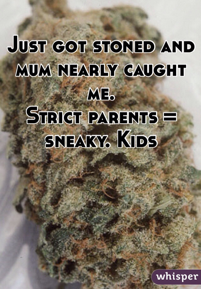 Just got stoned and mum nearly caught me.  Strict parents = sneaky. Kids