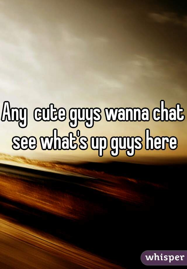Any  cute guys wanna chat see what's up guys here