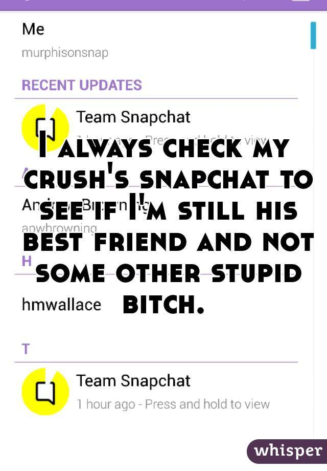 I always check my crush's snapchat to see if I'm still his best friend and not some other stupid bitch.