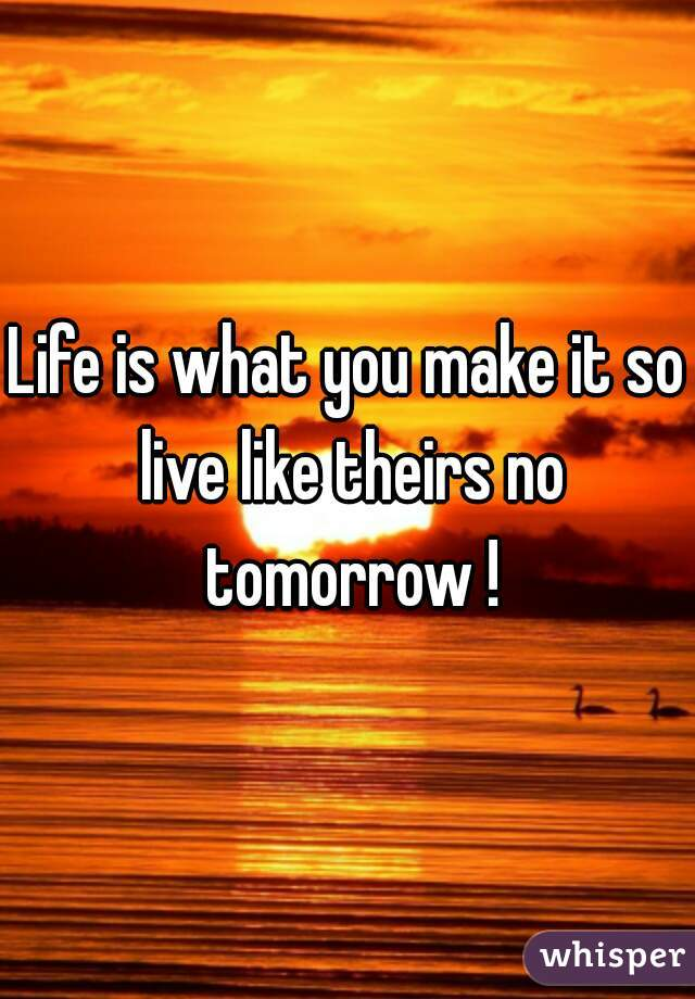 Life is what you make it so live like theirs no tomorrow !
