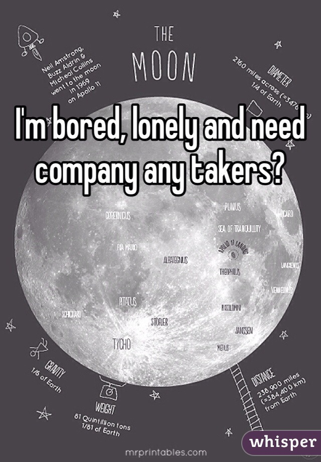 I'm bored, lonely and need company any takers?