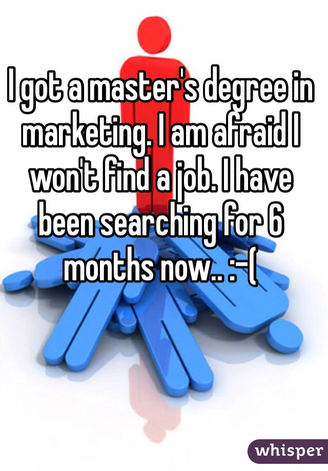 I got a master's degree in marketing. I am afraid I won't find a job. I have been searching for 6 months now.. :-(