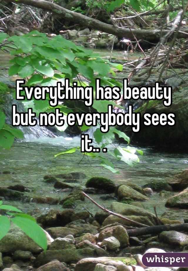 Everything has beauty but not everybody sees it.. .