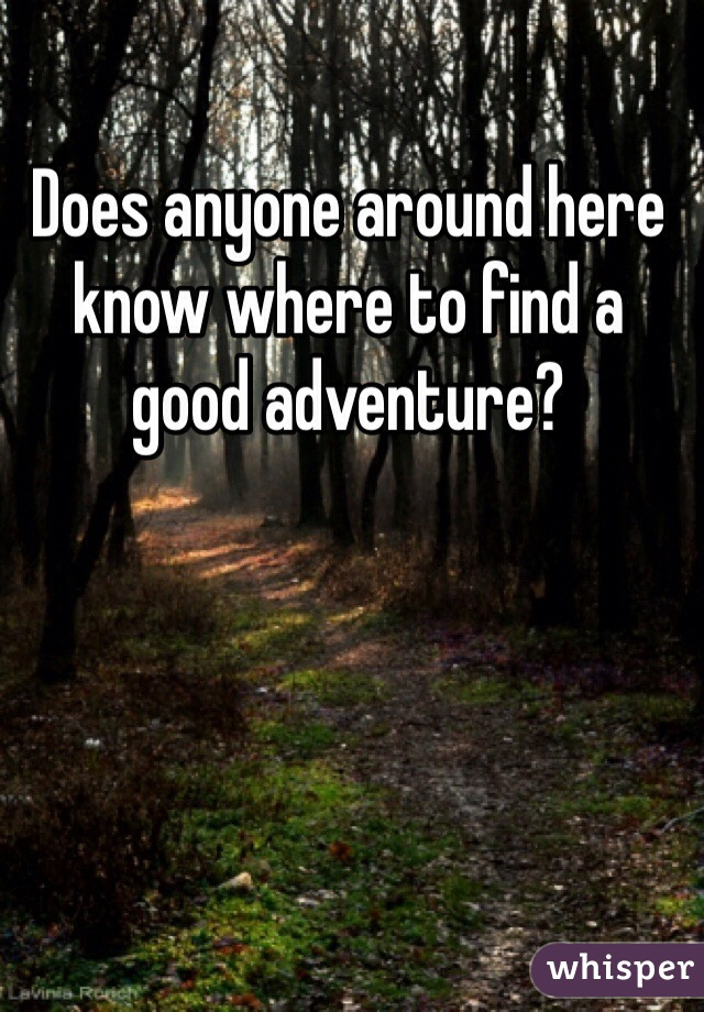 Does anyone around here know where to find a good adventure?