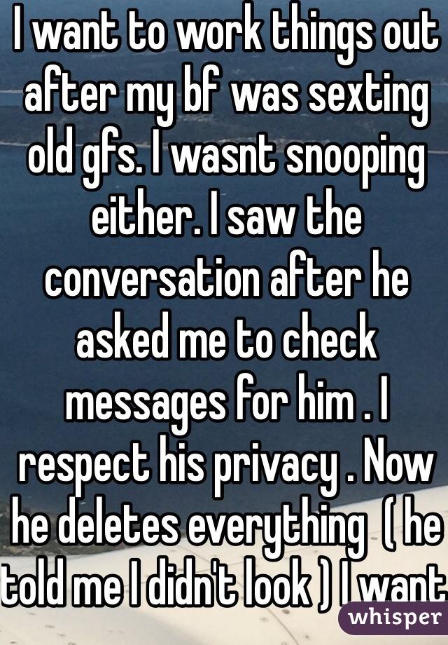 Sexting him at work