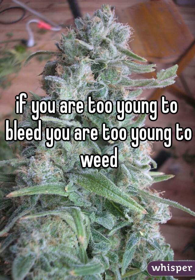 if you are too young to bleed you are too young to weed