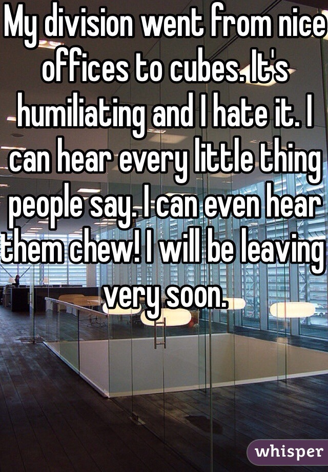 My division went from nice offices to cubes. It's humiliating and I hate it. I can hear every little thing people say. I can even hear them chew! I will be leaving very soon.