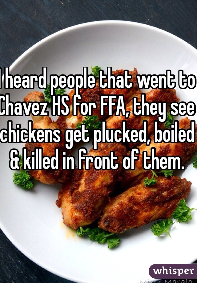 I heard people that went to Chavez HS for FFA, they see chickens get plucked, boiled & killed in front of them.
