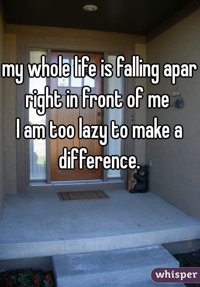 my whole life is falling apart right in front of me  I am too lazy to make a difference.