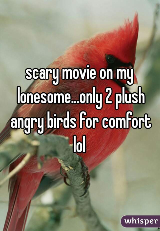 scary movie on my lonesome...only 2 plush angry birds for comfort lol