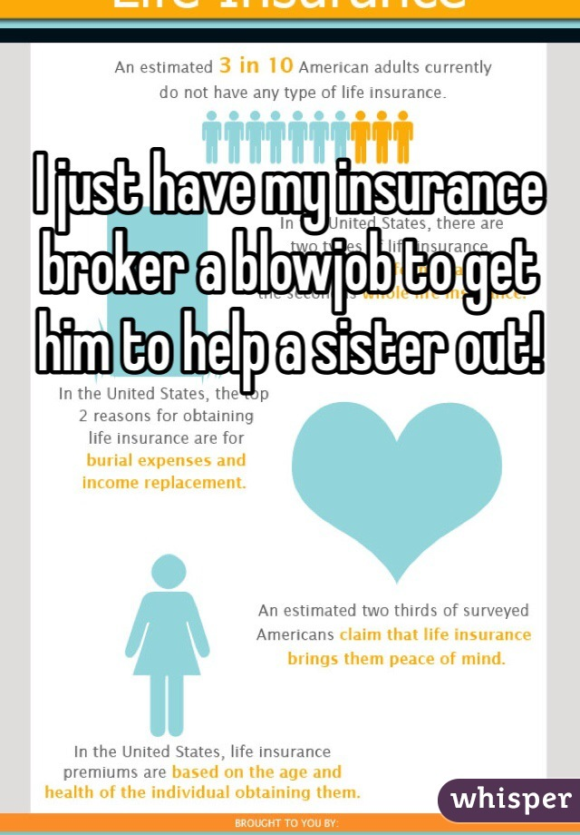 I just have my insurance broker a blowjob to get him to help a sister out!