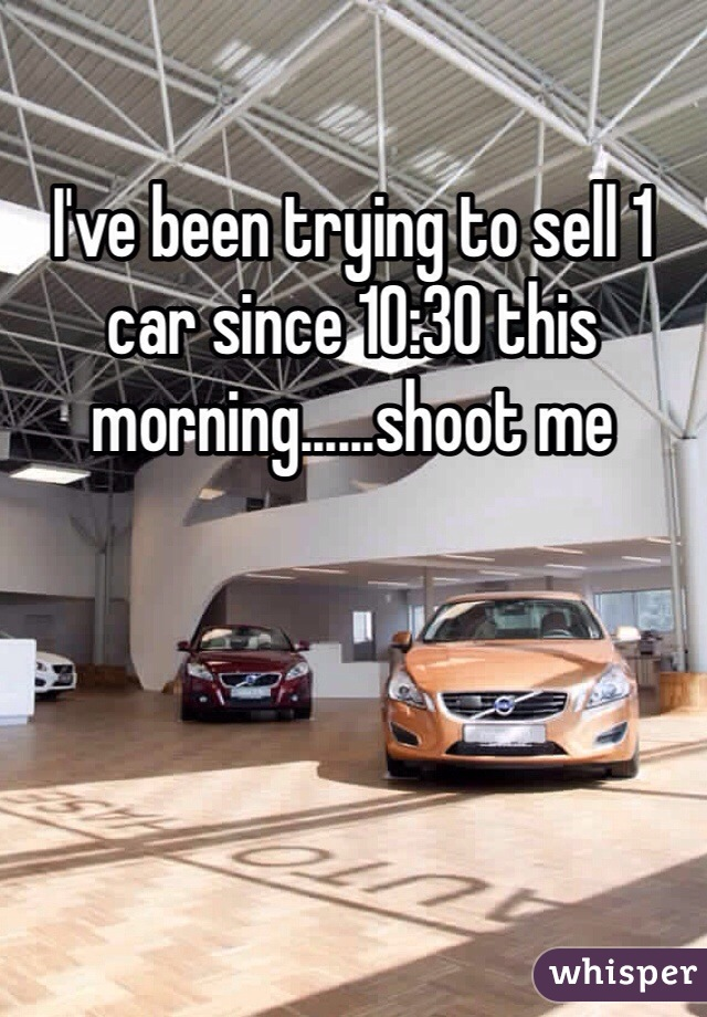 I've been trying to sell 1 car since 10:30 this morning......shoot me