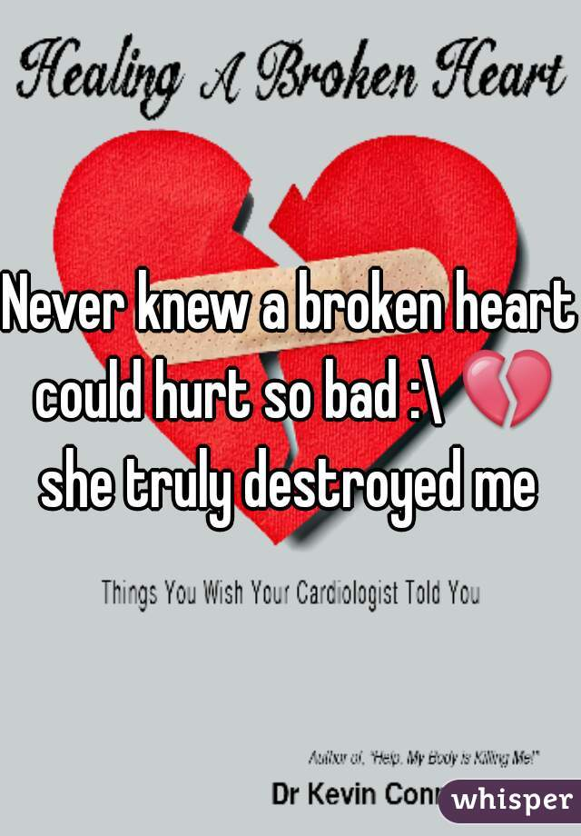 Never knew a broken heart could hurt so bad :\ 💔 she truly destroyed me