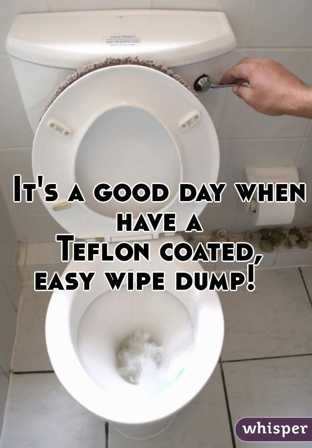 It's a good day when have a  Teflon coated,  easy wipe dump!