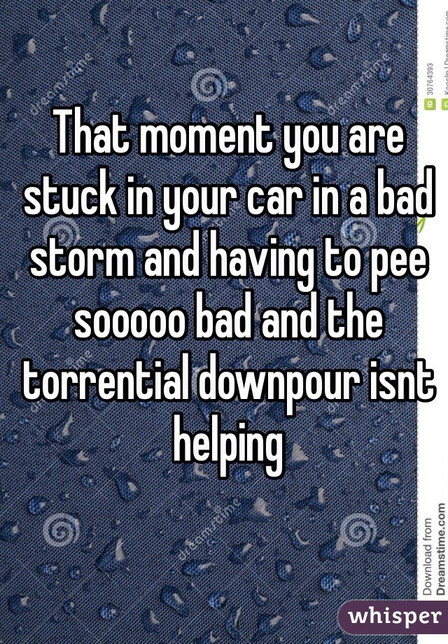 That moment you are stuck in your car in a bad storm and having to pee sooooo bad and the torrential downpour isnt helping