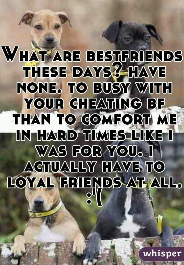 What are bestfriends these days? have none. to busy with your cheating bf than to comfort me in hard times like i was for you. i actually have to loyal friends at all. :'(
