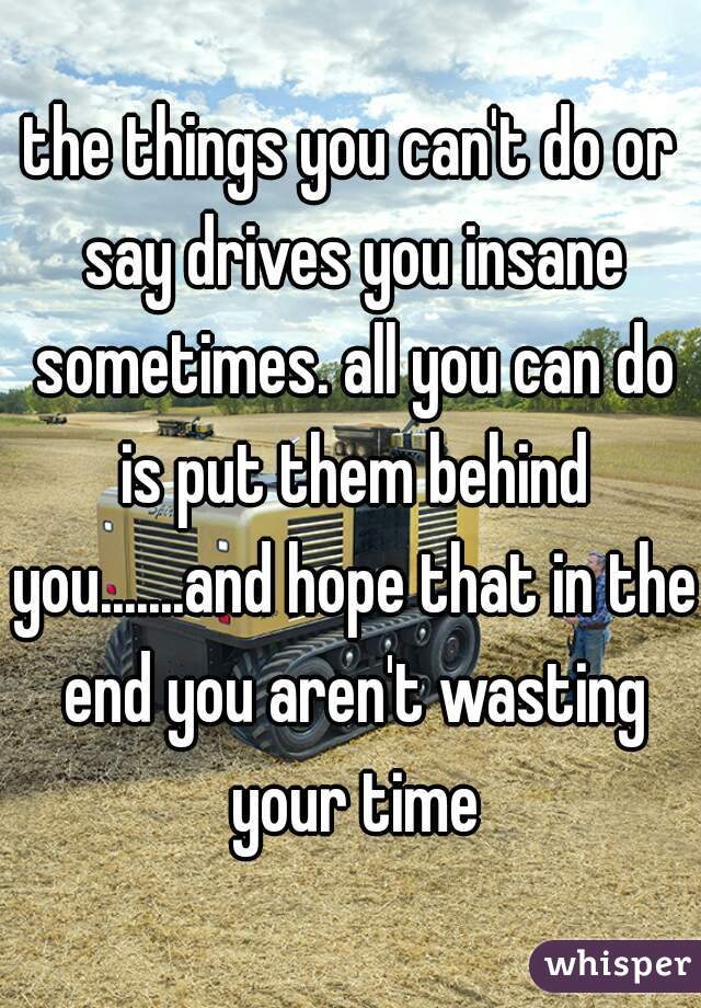the things you can't do or say drives you insane sometimes. all you can do is put them behind you.......and hope that in the end you aren't wasting your time