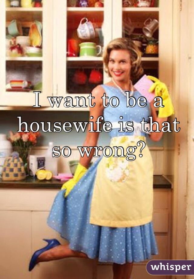 I want to be a housewife is that so wrong?