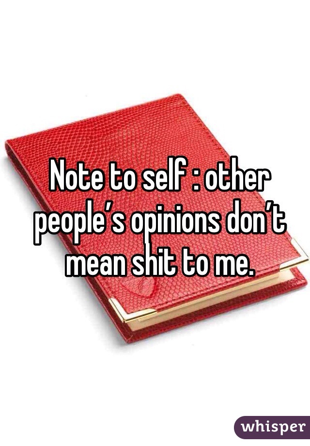 Note to self : other people's opinions don't mean shit to me.