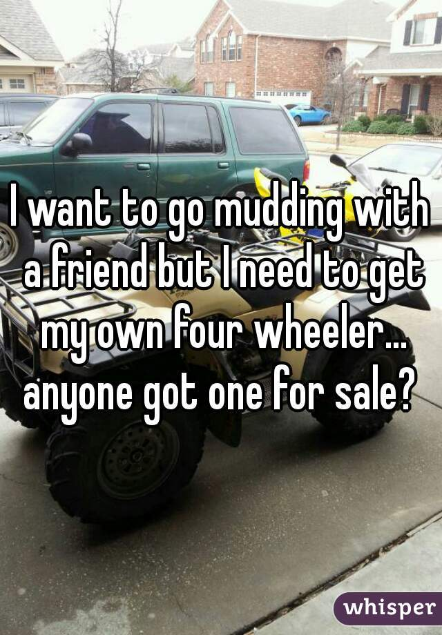 I want to go mudding with a friend but I need to get my own four wheeler... anyone got one for sale?