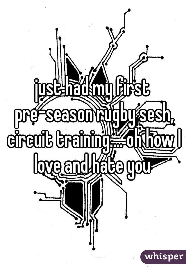 just had my first pre-season rugby sesh, circuit training.... oh how I love and hate you
