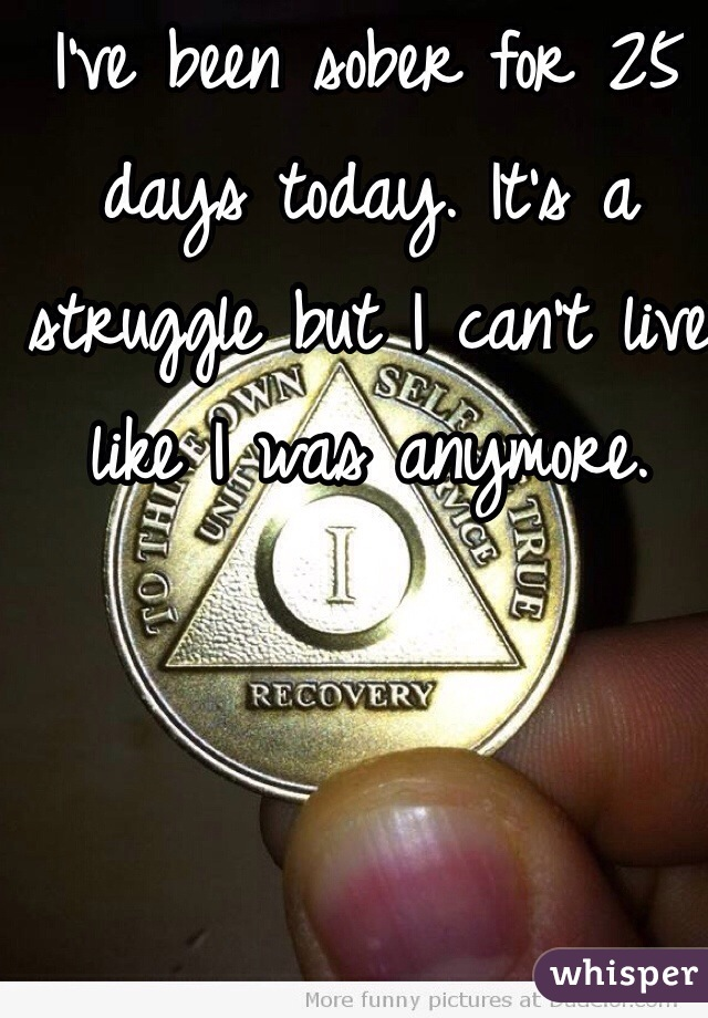 I've been sober for 25 days today. It's a struggle but I can't live like I was anymore.