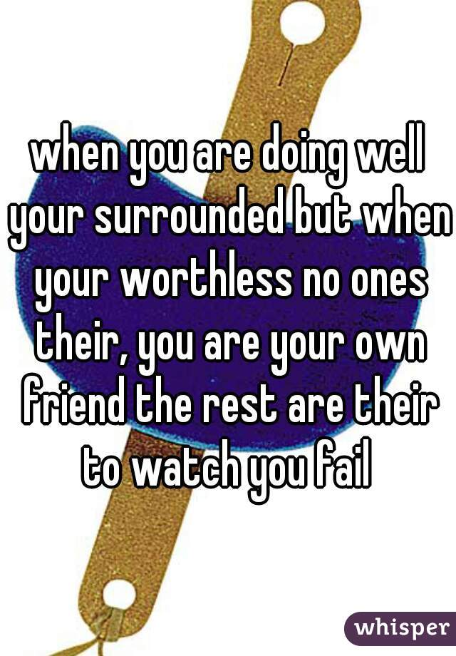 when you are doing well your surrounded but when your worthless no ones their, you are your own friend the rest are their to watch you fail