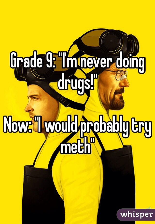 """Grade 9: """"I'm never doing drugs!""""  Now: """"I would probably try meth"""""""