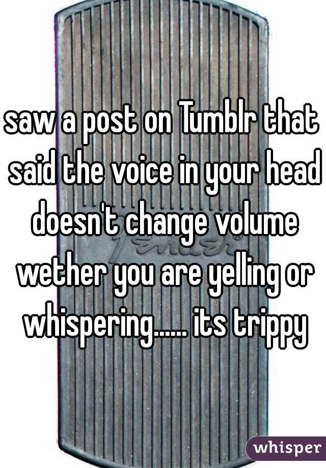 saw a post on Tumblr that said the voice in your head doesn't change volume wether you are yelling or whispering...... its trippy