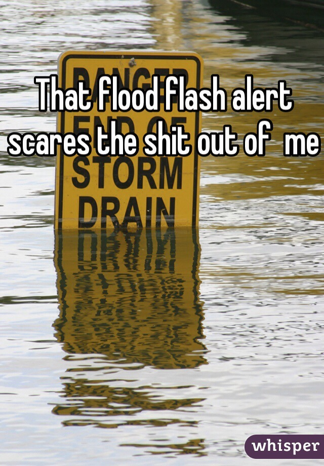 That flood flash alert scares the shit out of  me