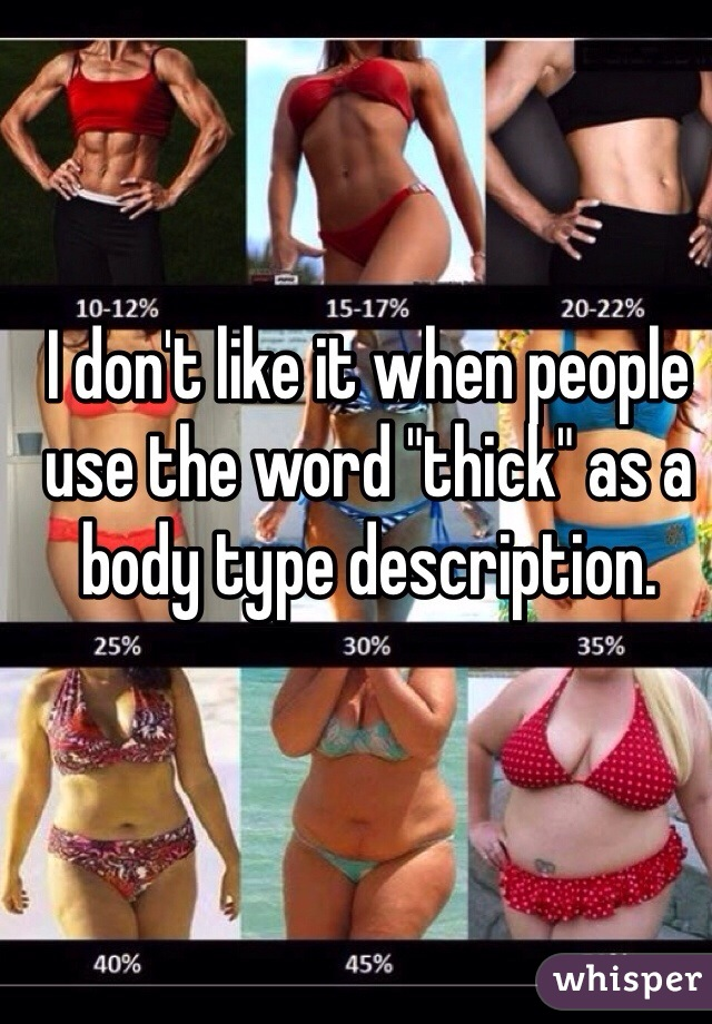 "I don't like it when people use the word ""thick"" as a body type description."