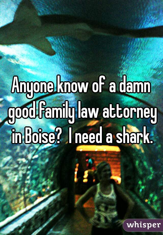 Anyone know of a damn good family law attorney in Boise?  I need a shark.