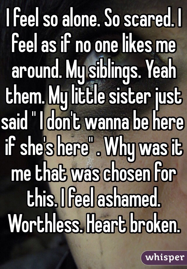"I feel so alone. So scared. I feel as if no one likes me around. My siblings. Yeah them. My little sister just said "" I don't wanna be here if she's here"" . Why was it me that was chosen for this. I feel ashamed. Worthless. Heart broken."