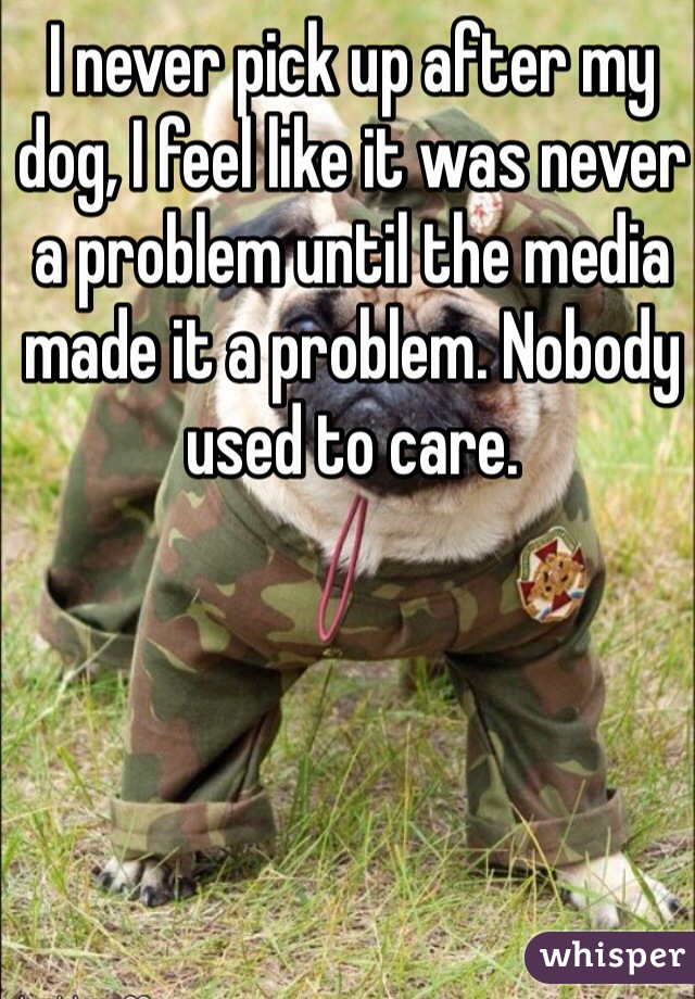 I never pick up after my dog, I feel like it was never a problem until the media made it a problem. Nobody used to care.
