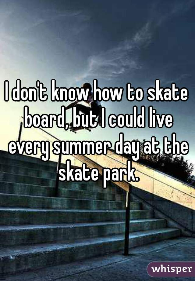 I don't know how to skate board, but I could live every summer day at the skate park.