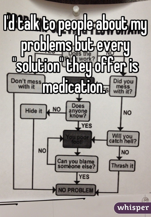 """I'd talk to people about my problems but every """"solution"""" they offer is medication."""