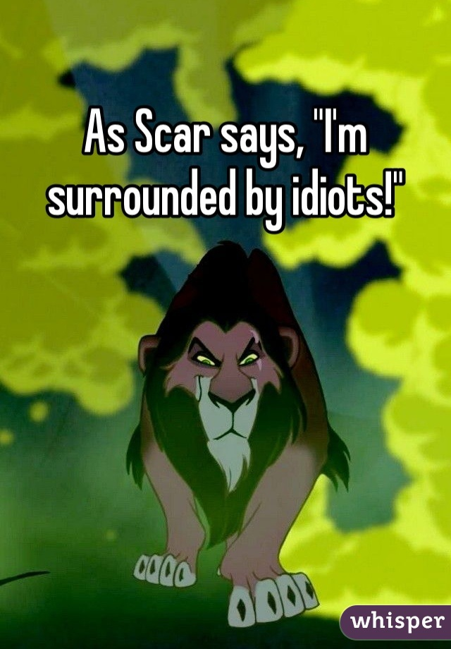 """As Scar says, """"I'm surrounded by idiots!"""""""
